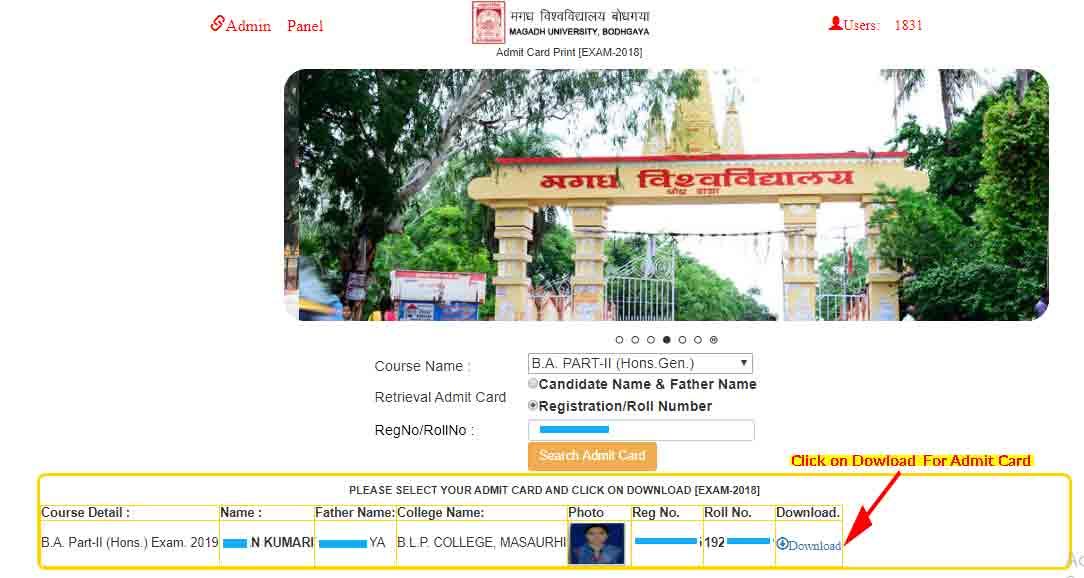 magadh university part 2 exam admit card download website