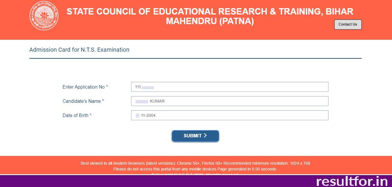 Bihar NTS Exam Admit Card Download