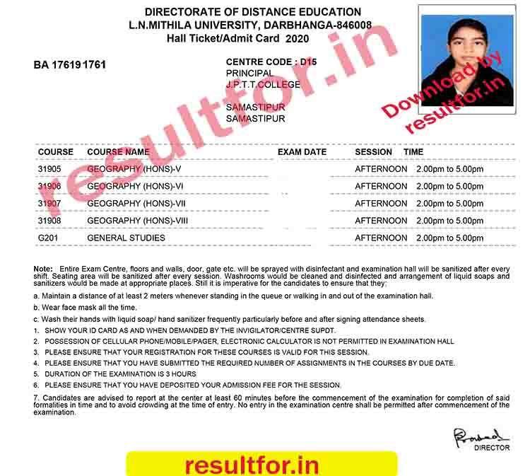DDE lnmu December exam Admit Card details