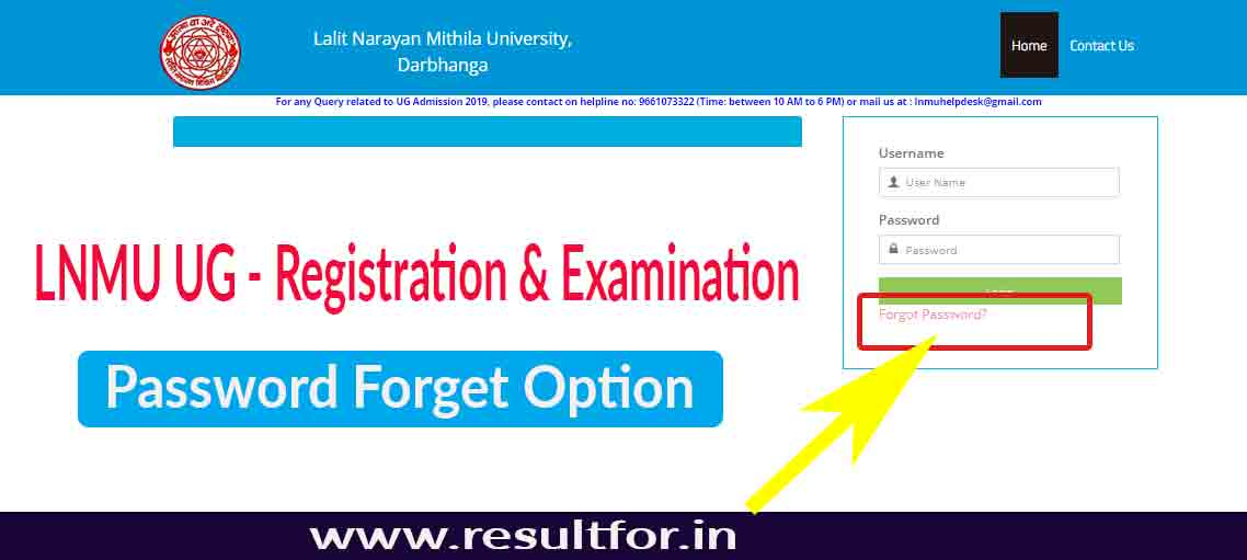 LNMU-Password-forget-option-for-registration-and-examination