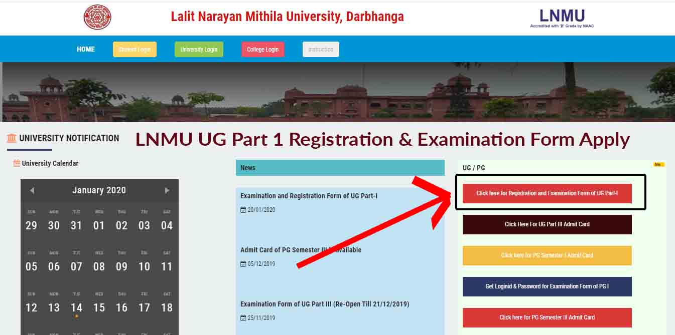 LNMU UG Part 1 Registration & Examination Form Apply
