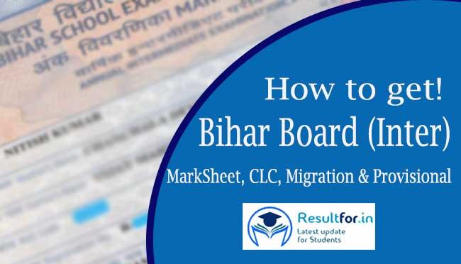 bihar board inter original certificate