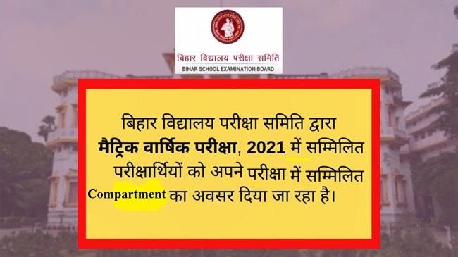 Bihar Board 10th Compartment Exam Form Apply 2021