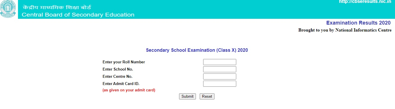 cbse 10th result 2020 check website link
