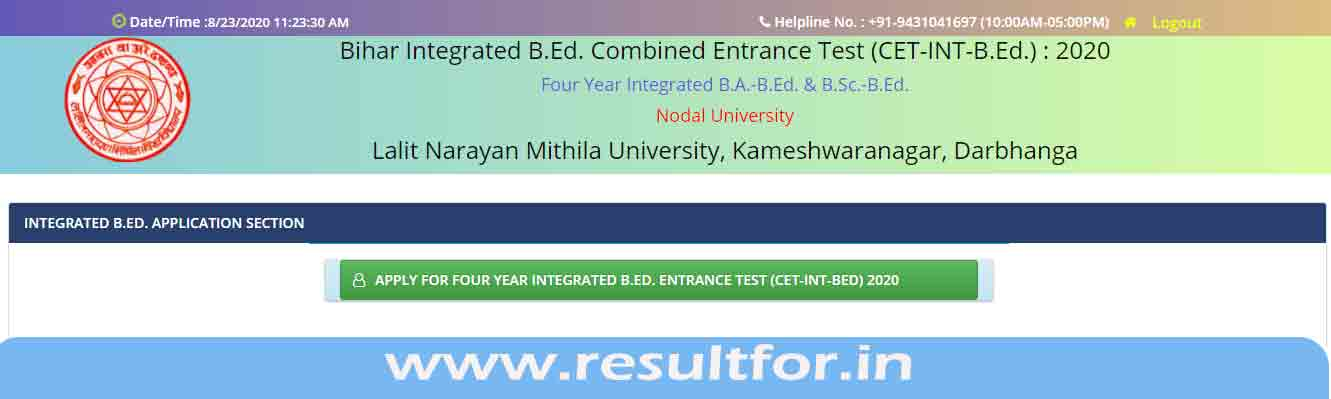 bihar lnmu b.ed cet admission application form filing link