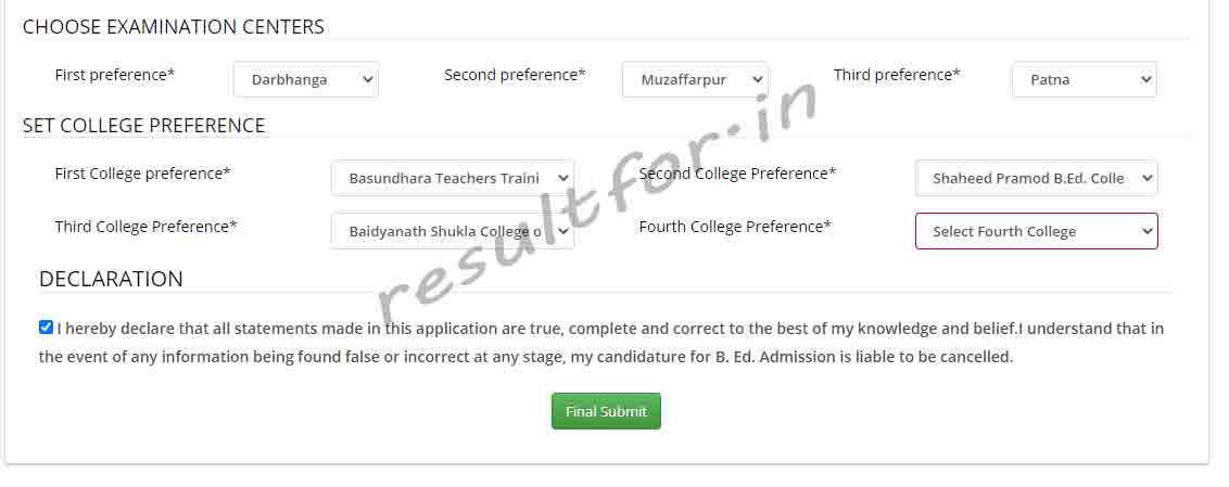 exam center selection and college choice apply