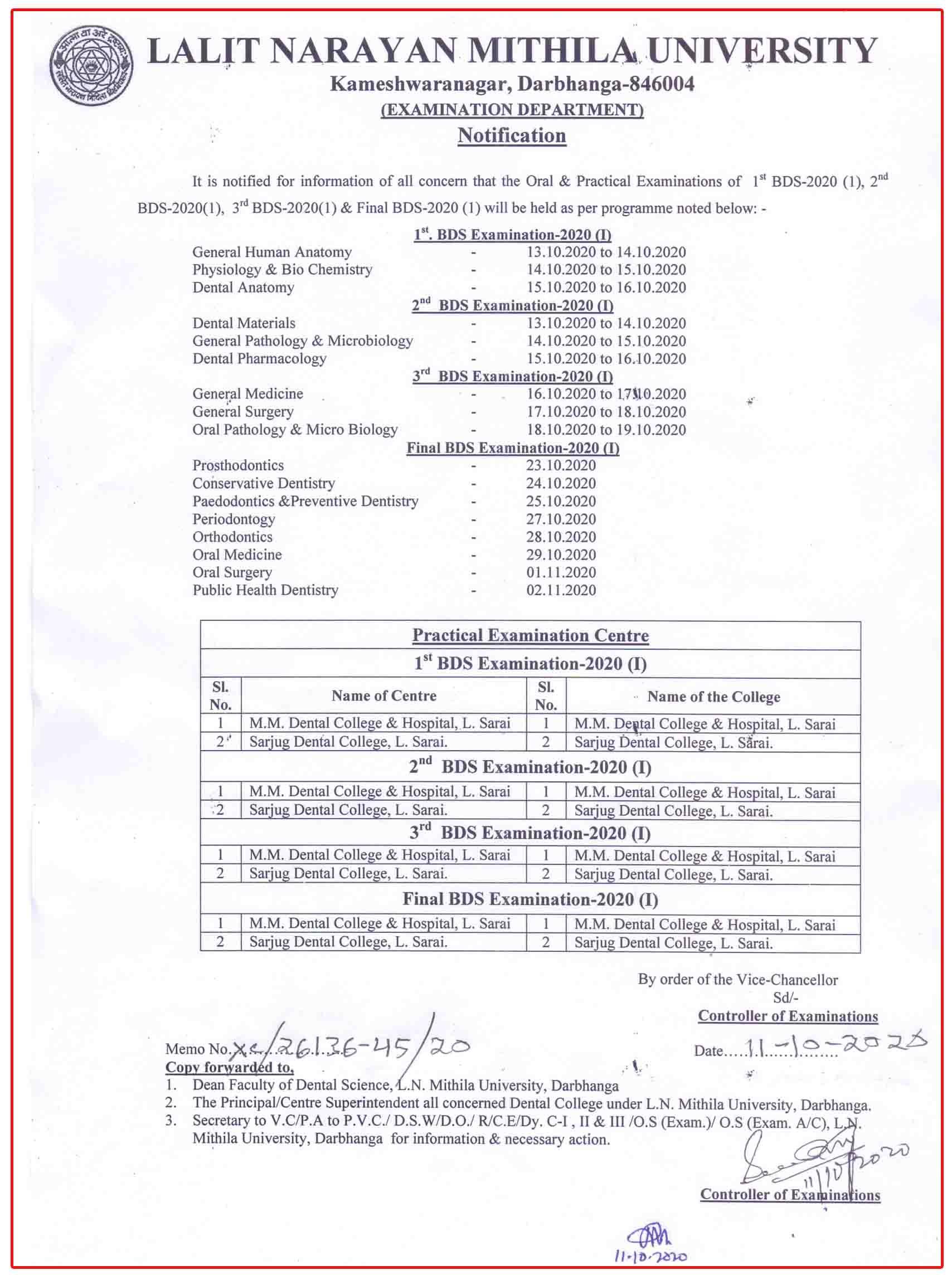 LNMU BDS EXam Date I 2 3 final schedule