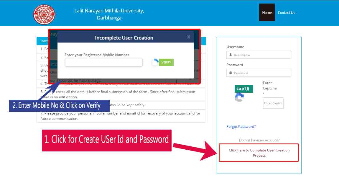 LNMU-UG-admission-User-id-password-create-mobile-number-verification