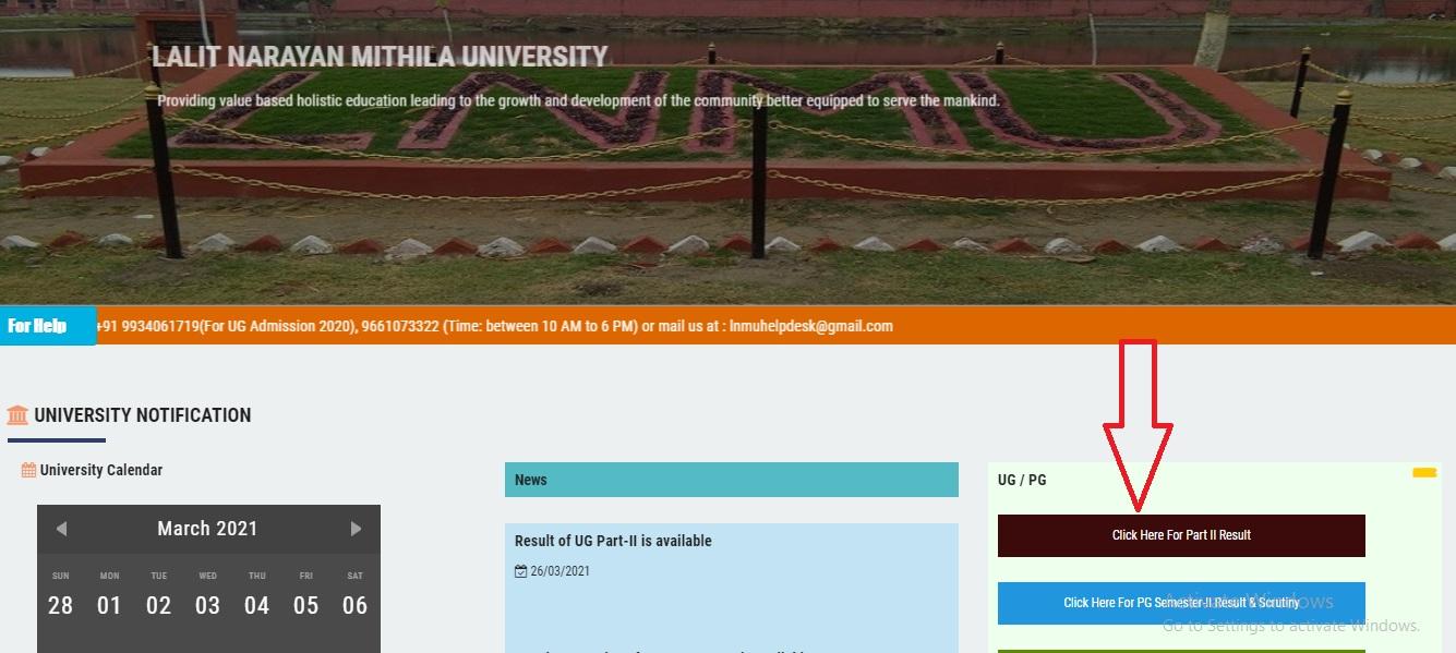 LNMU UG Part 2 Result 2021 2020 Declared