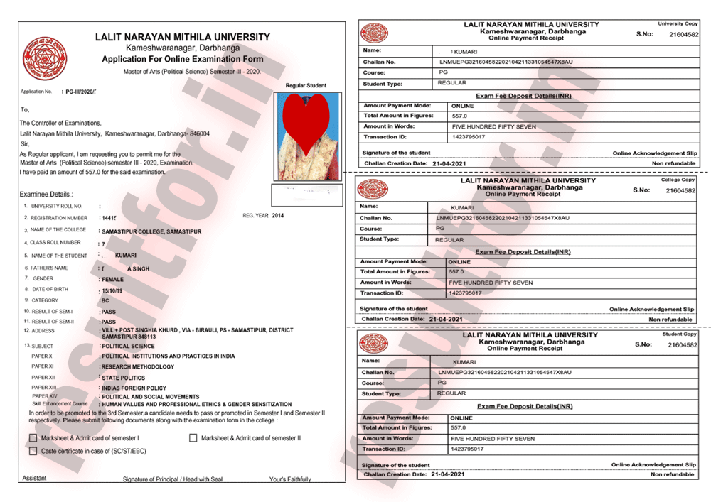 lnmu pg 3rd Sem Exam Form Apply Receiving