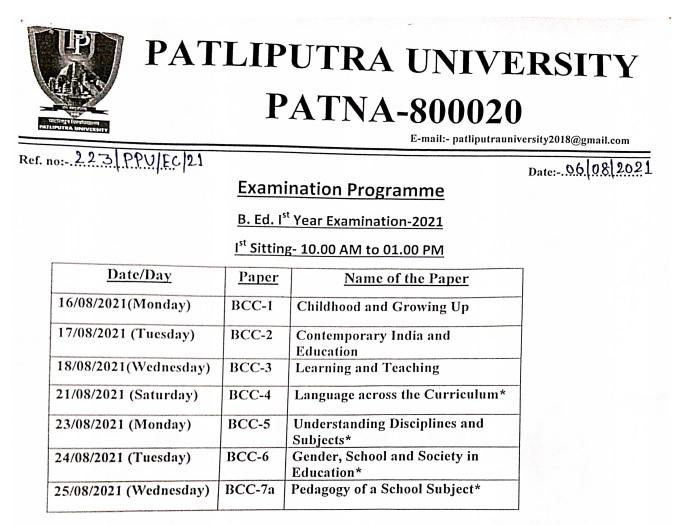 Patliputra University B.Ed 1st Year Exam date Sheet Announced