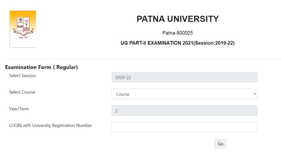 Patna University UG Part 2 Exam Form Apply