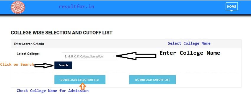 lnmu ug college wise selection list download