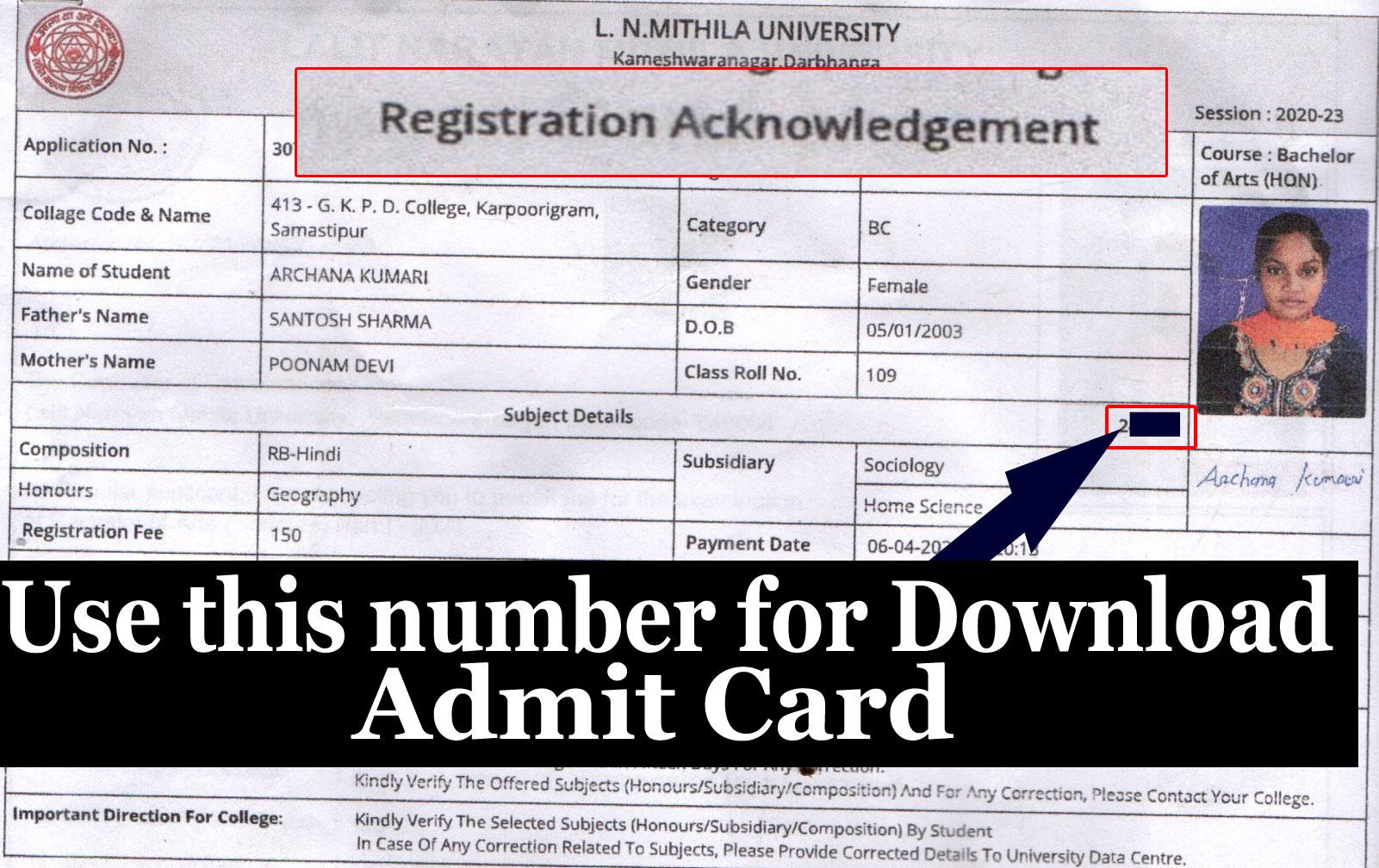 number for download registration card lnmu ug part 1 exam 2021