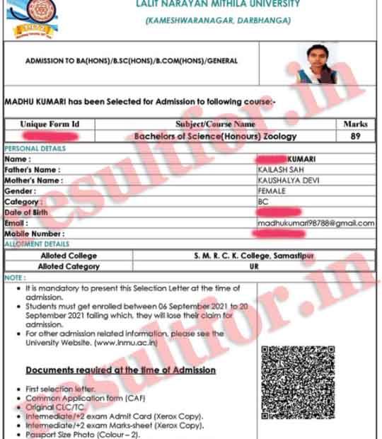 lnmu ug admission selection letter download